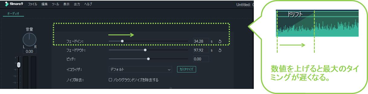 7_フィモーラ_ミュージック_BGM_クリップ追加_方法_ミュージックトラックに入れる_フェードイン