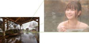 雪の積もる温泉から一部分を拡大するイメージ