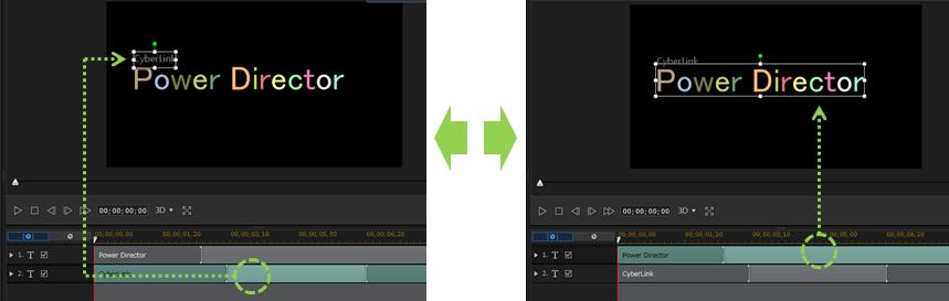 パワーディレクター_タイトルクリップ_所要時間の設定_デザイナー_デフォルト_インターフェース_二つのタイトルクリップがある場合_クリックによる画面変化