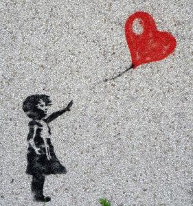 バンクシーの風船と少女の絵