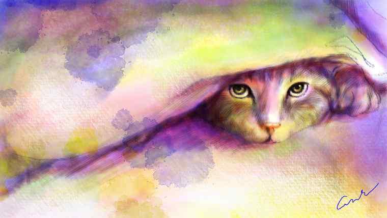 布団の隙間から顔を出すネコのイラスト
