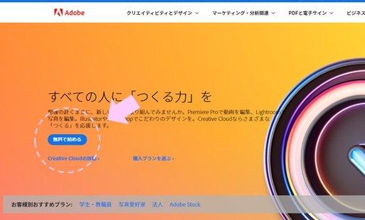 adobe無料で始めるボタンの位置を示すキャプチャ画像