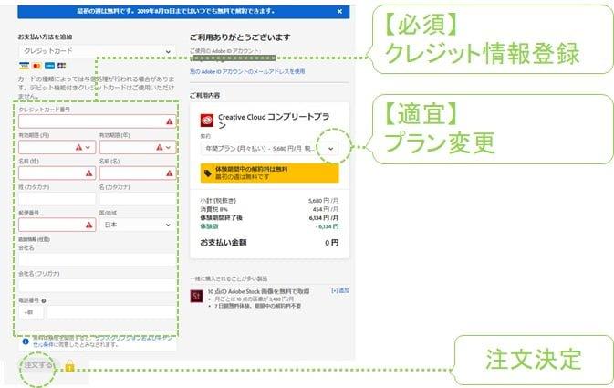 adobe申込フォームのクレジット登録画面の画像